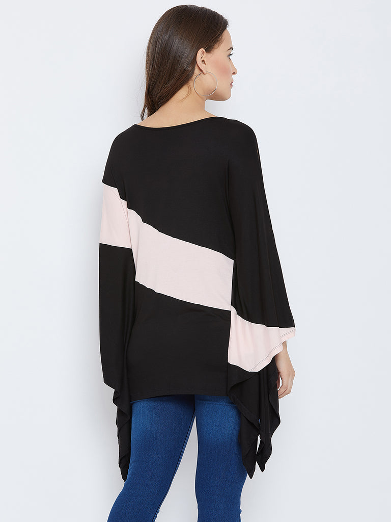 Black color block over sized top