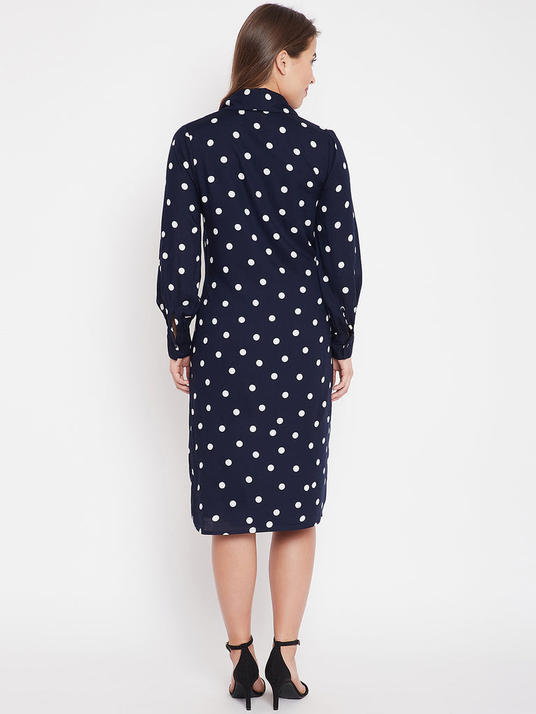 Navy Polka Dot Wrap Midi
