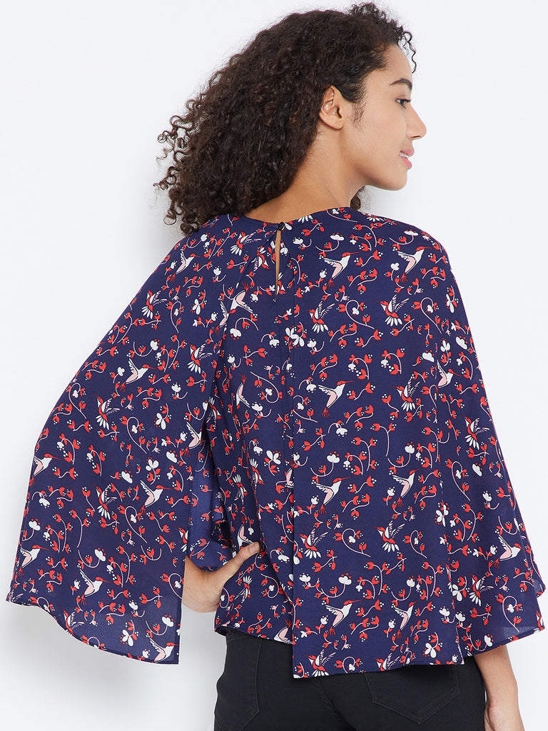 Navy Bird Print Cape Top