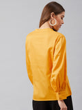 Yellow Cotton Pleated Detail Sleeve Top