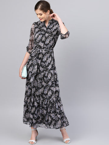 Black Ditsy Floral Tiered Maxi Dress