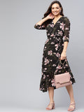 Black/Blush Floral Wrap Midi Dress