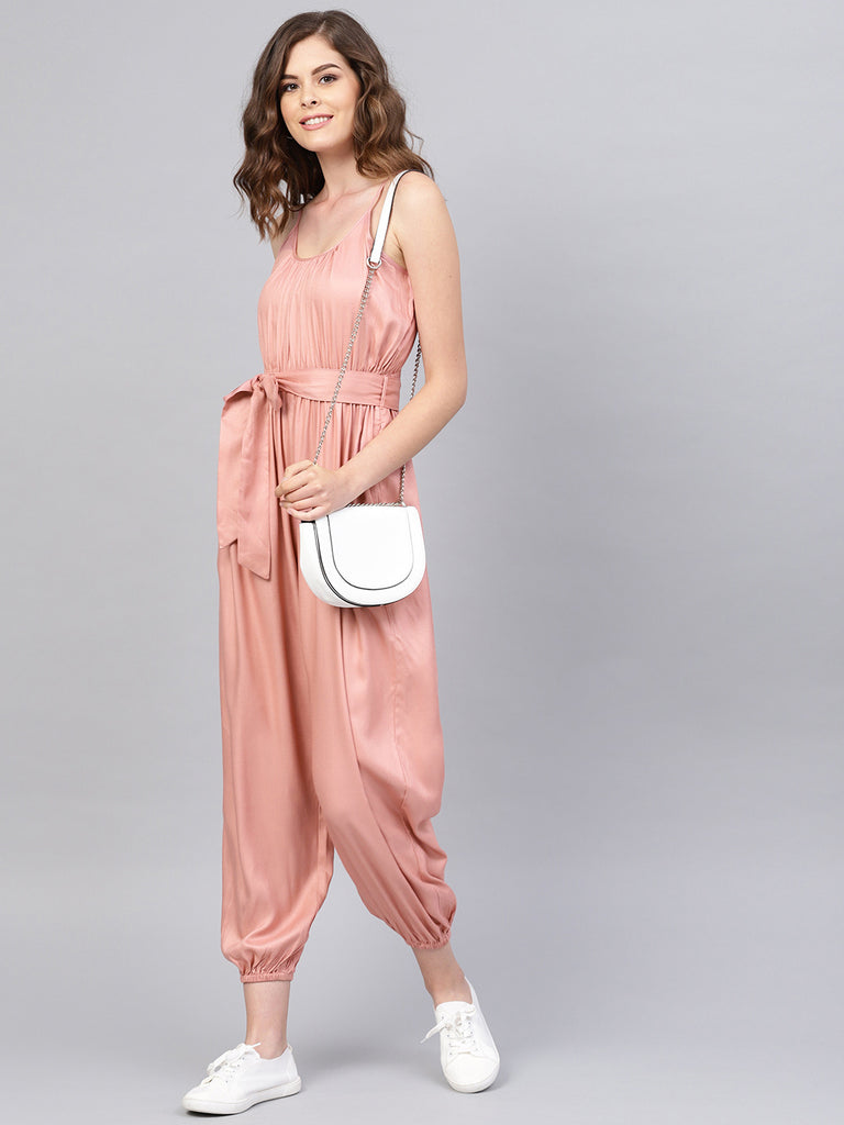 Pink Strappy Flounced Hem Jumpsuit