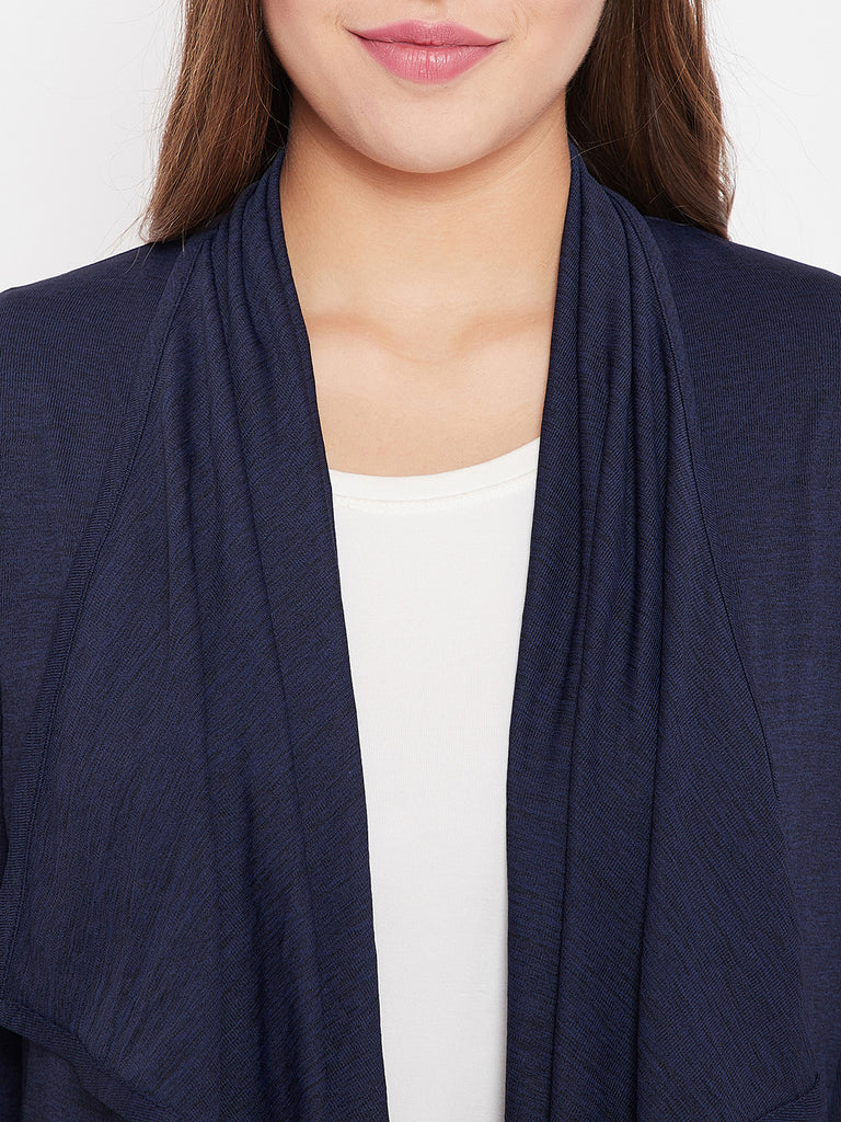 Blue and Black Textured Waterfall Shrug