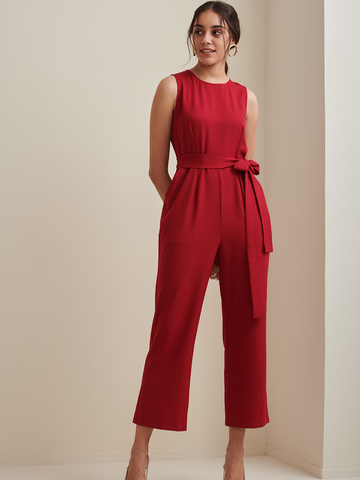 Red Sleeveless Formal Belted Jumpsuit