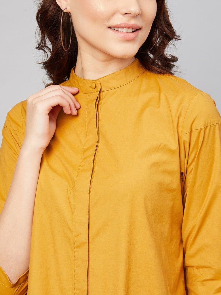 Mustard Cotton Pleated Cutout Mini Dress