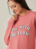 Dusky Pink Glow With The Flow Graphic Printed Sweatshirt