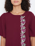 Wine embroidered shift dress