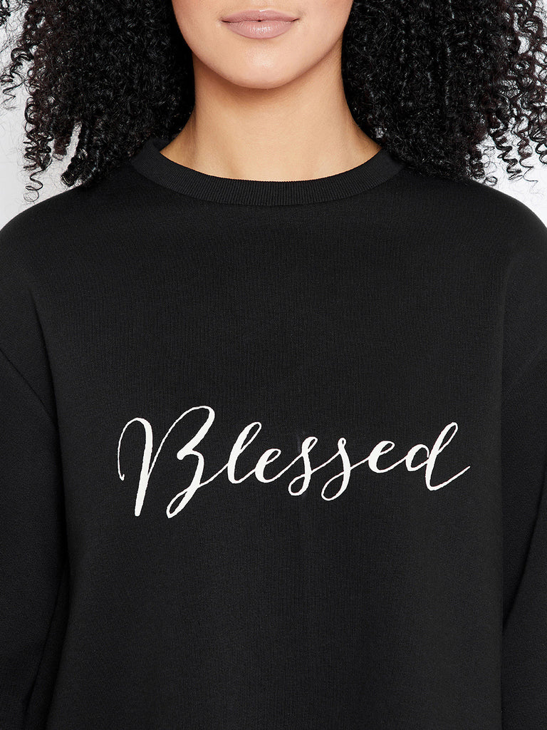 Black Blessed printed Sweatshirt