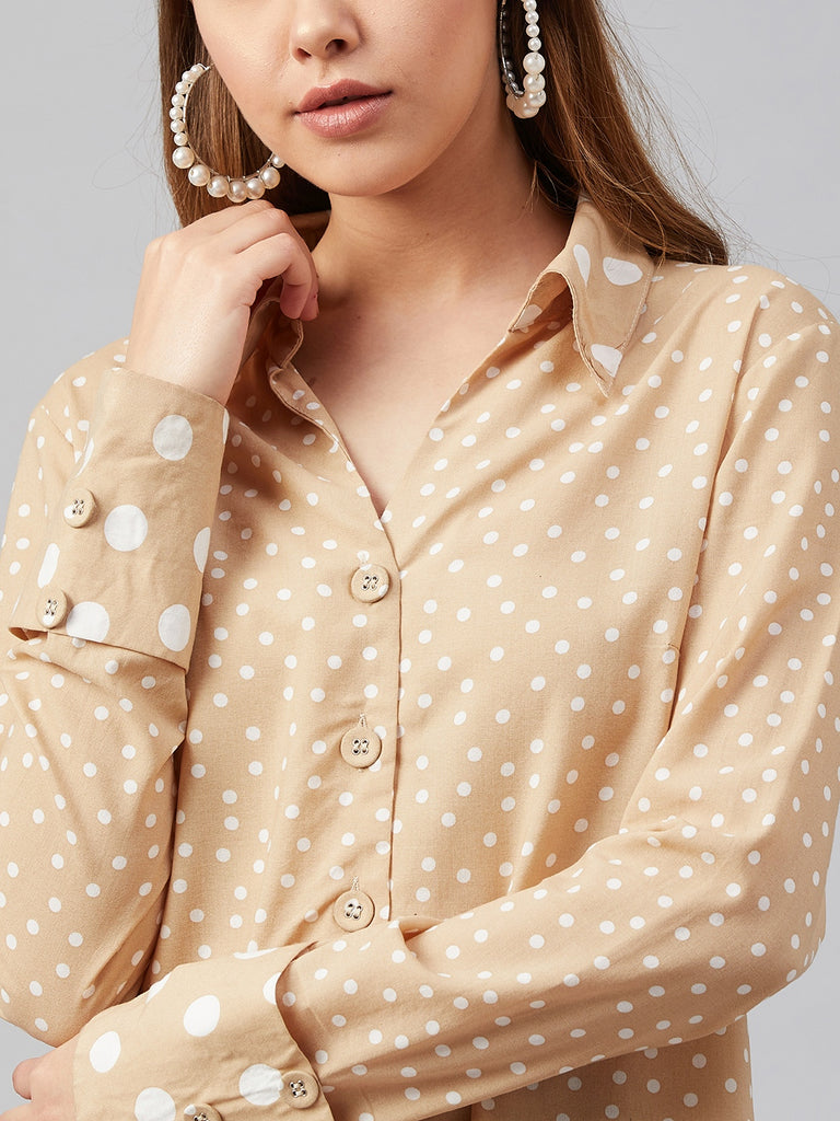 Beige Mixed Polka Detail Shirt