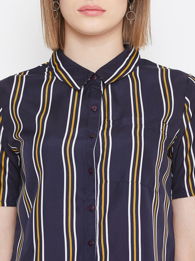 Navy/yellow stripe crop shirt