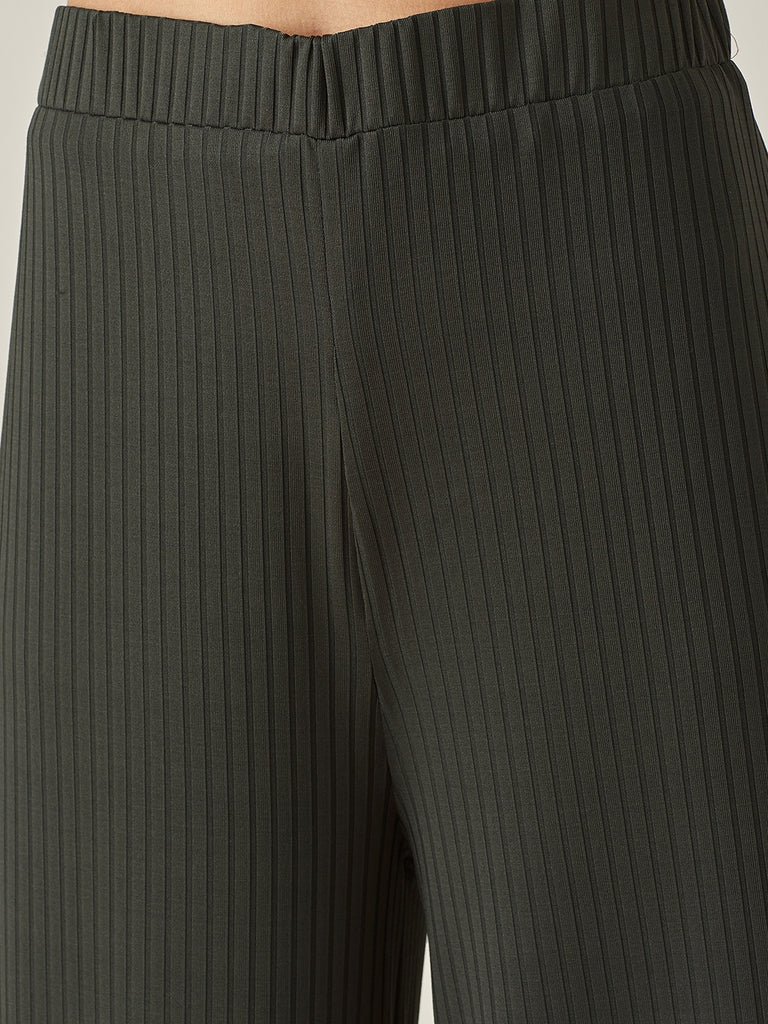 Green Ribbed Jersey Lounge Pants