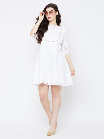WHITE FLORAL SCHIFFLI LACE DRESS