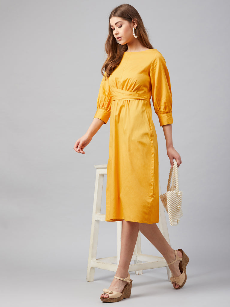 Yellow Cotton Wrap Waist Midi Dress