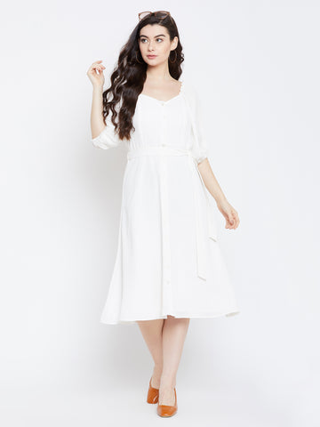 WHITE BUTTON DOWN MIDI DRESS