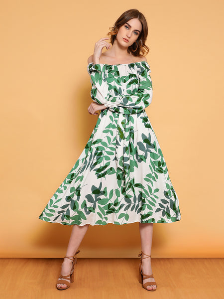 White leaf print flared midi dress