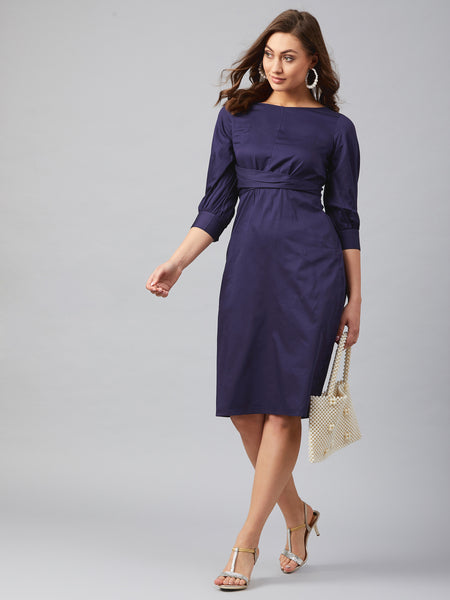 Navy Cotton Wrap Waist Midi Dress