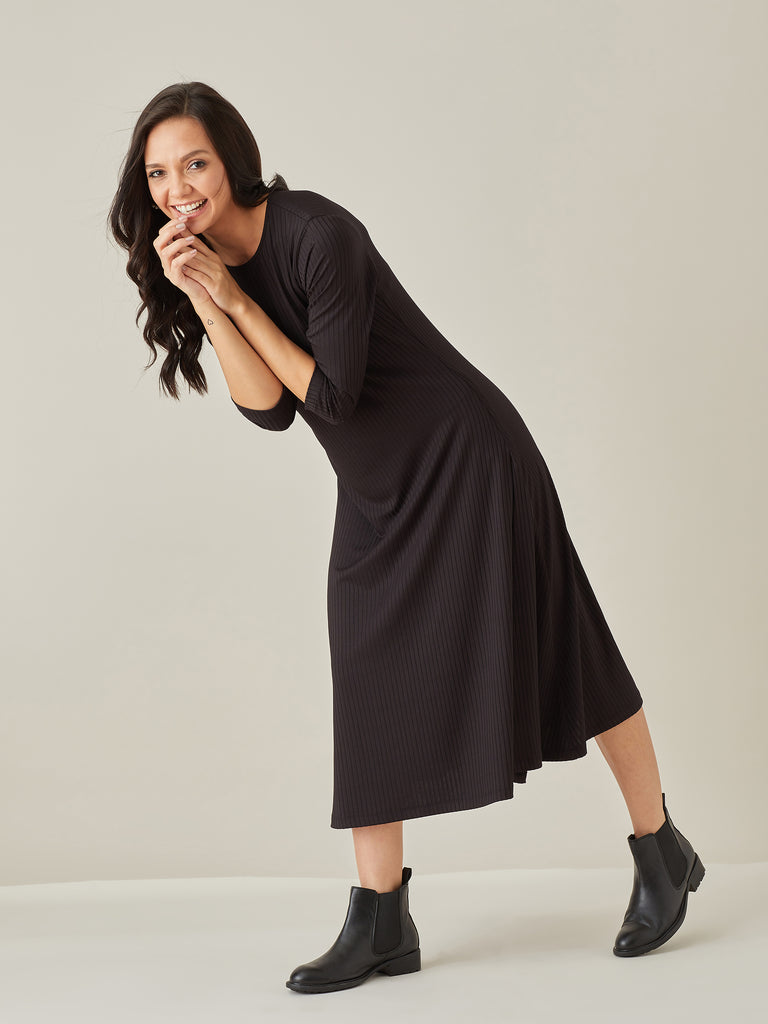 Black Ribbed Jersey Midi Dress