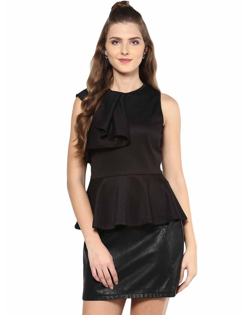 Black Ruffle Peplum Top