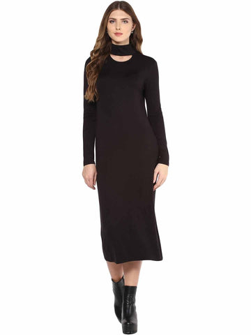 Black Choker Neck Midi dress