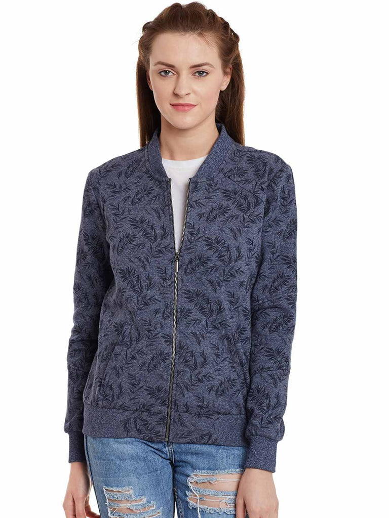 Blue Printed Bomber Jacket