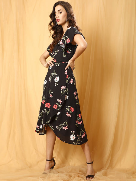 Black Botanical Print Wrap Dress