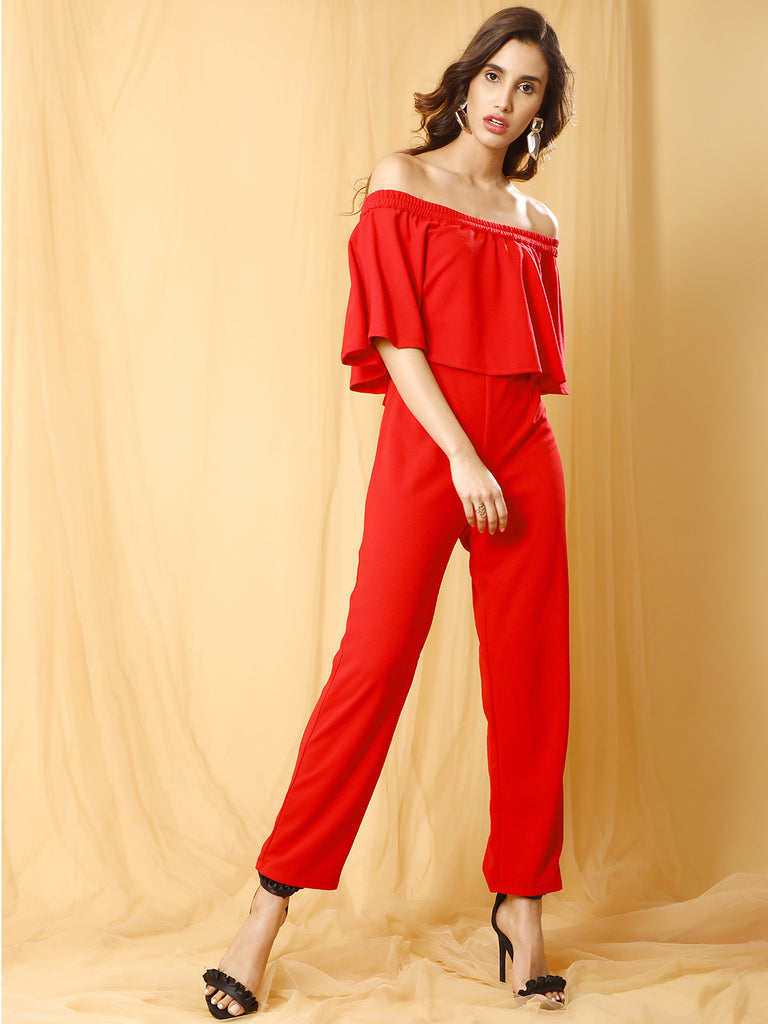 Red Off shoulder Jumpsuit