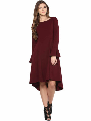 Maroon Bell Sleeve Formal Dress