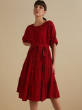Red  round neck tier midi dress