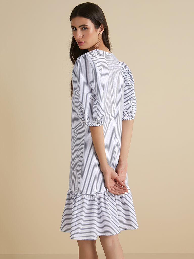 Blue stripe round neck dress