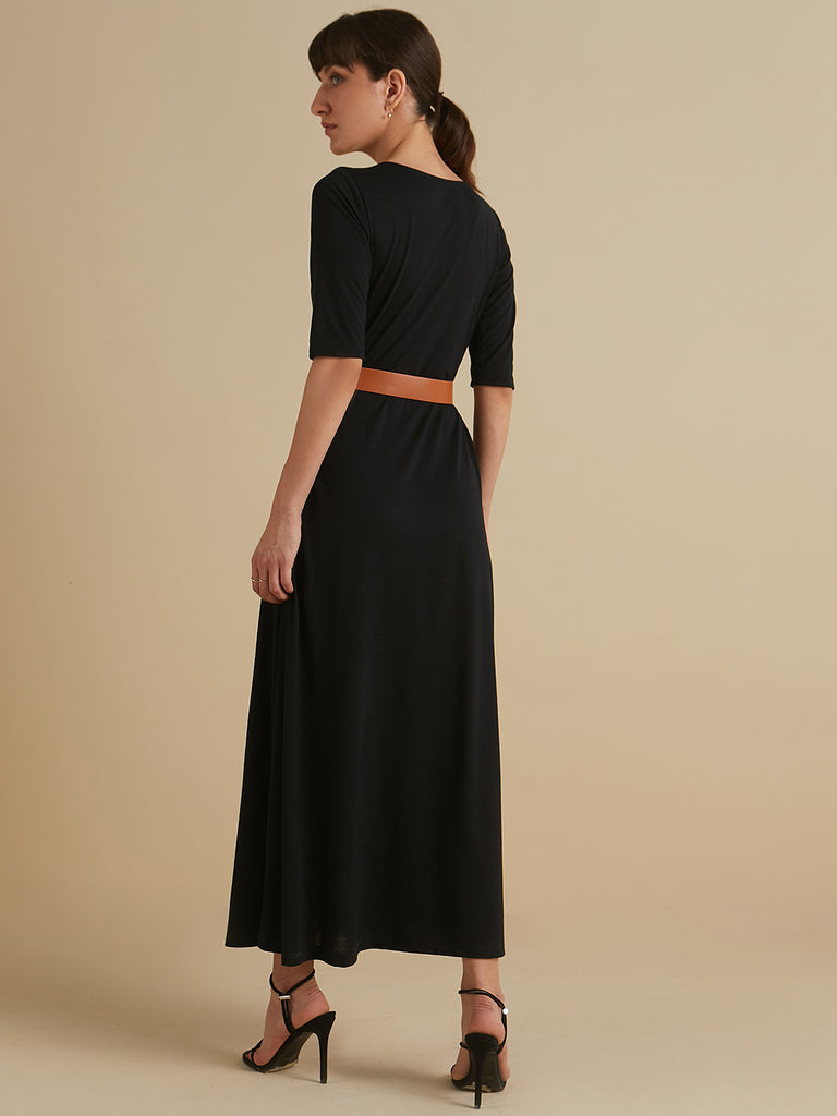 Black modal maxi dress with slit and belt