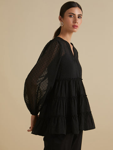 Black  dobby georgette  tie top