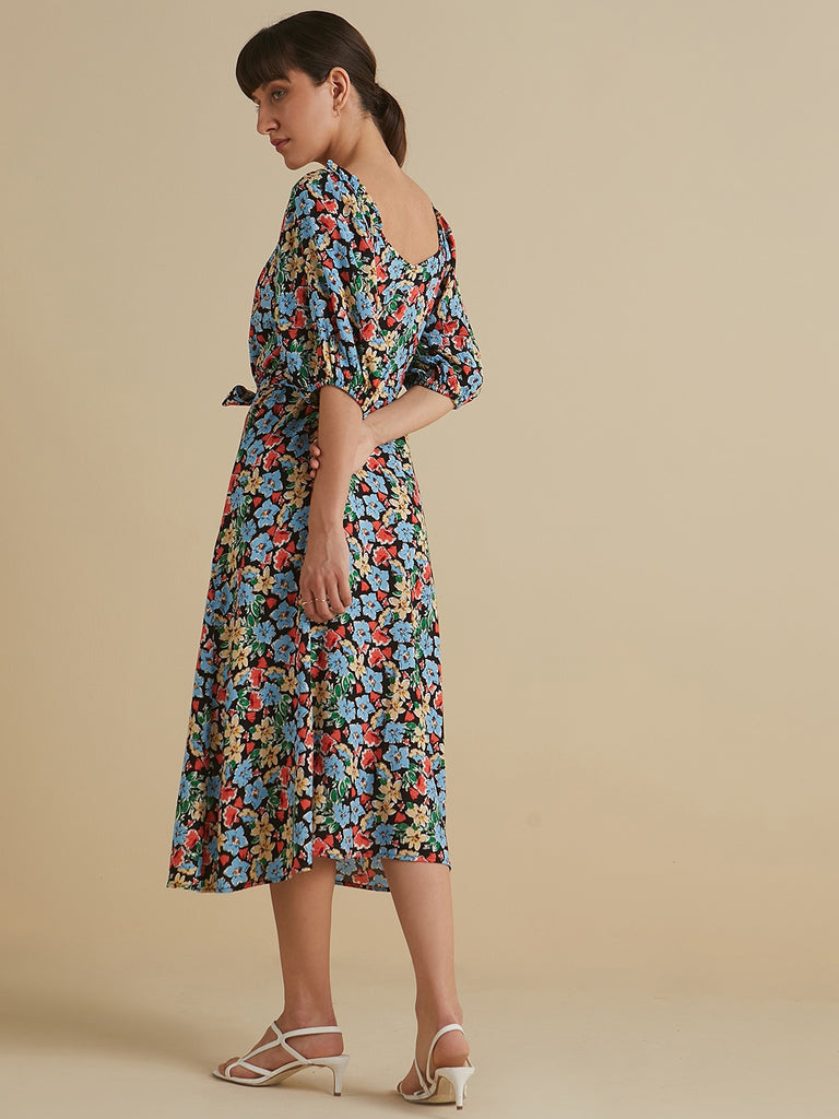 Black Ditsy Floral Button Down Belted Midi Dress