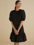 Black round neck Single tier dress