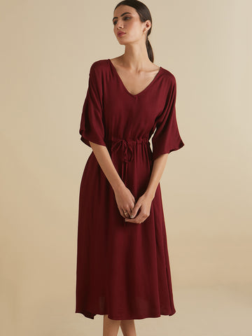 Wine Kaftan Midi Dress