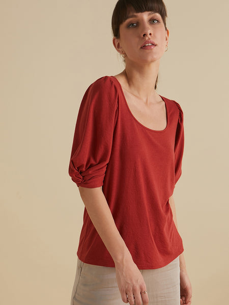 Rust Jersey Knotted sleeves top