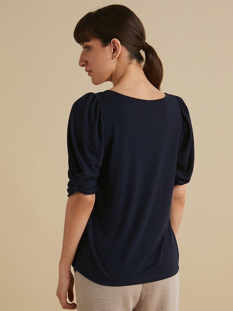 Navy Jersey  knotted sleeves top