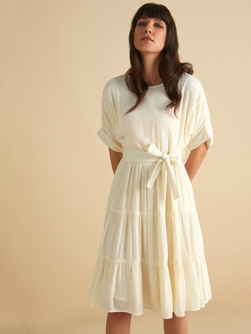 White round neck tier Midi dress