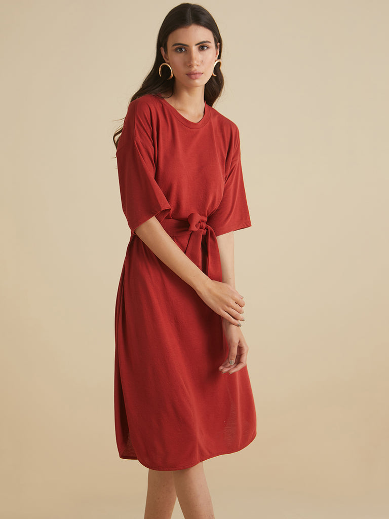 Rust jersey Tie up midi dress