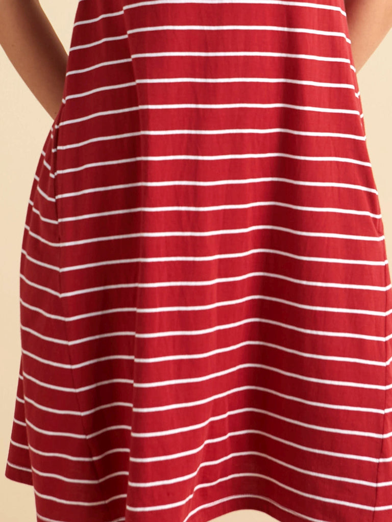 Red and white Striped jersey swing dress