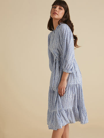 Blue Polka printed  Button Down Tier Midi Dress