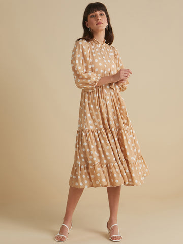 Beige Polka Button Down Tier Midi Dress