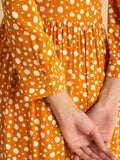Mustard polka Band neck tier Midi dress