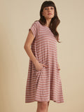Blush and white Striped jersey swing dress