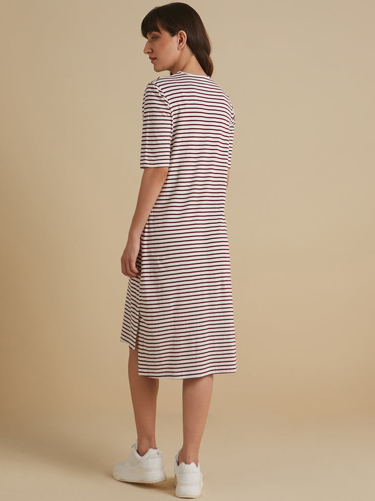 Wine and white Striped T-shirt dress with slit