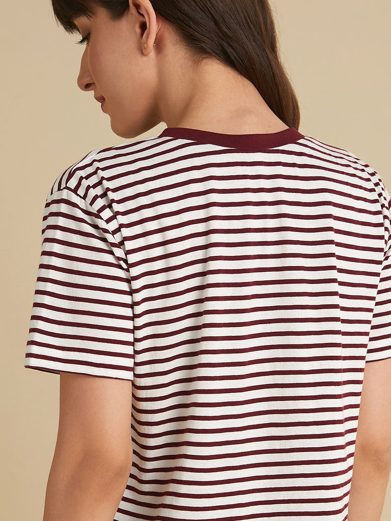 Wine and white striped solid neck Tee
