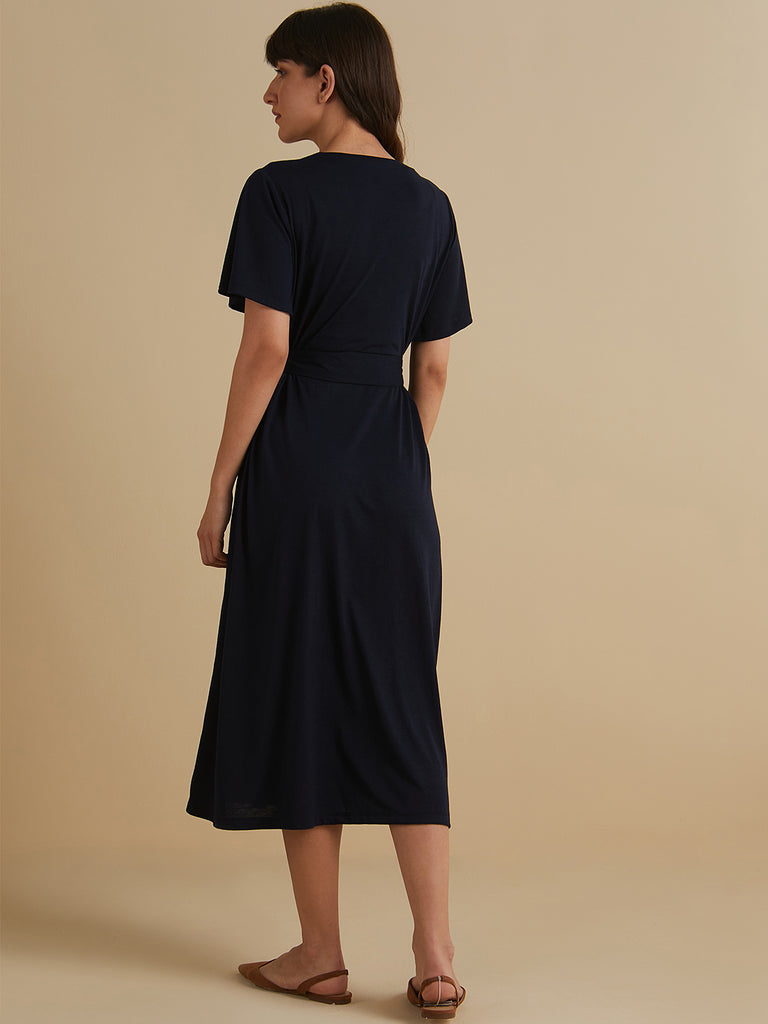 Navy jersey belted midi dress with front slit