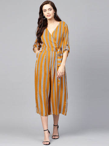 Mustard stripe Wrap Neck Jumpsuit