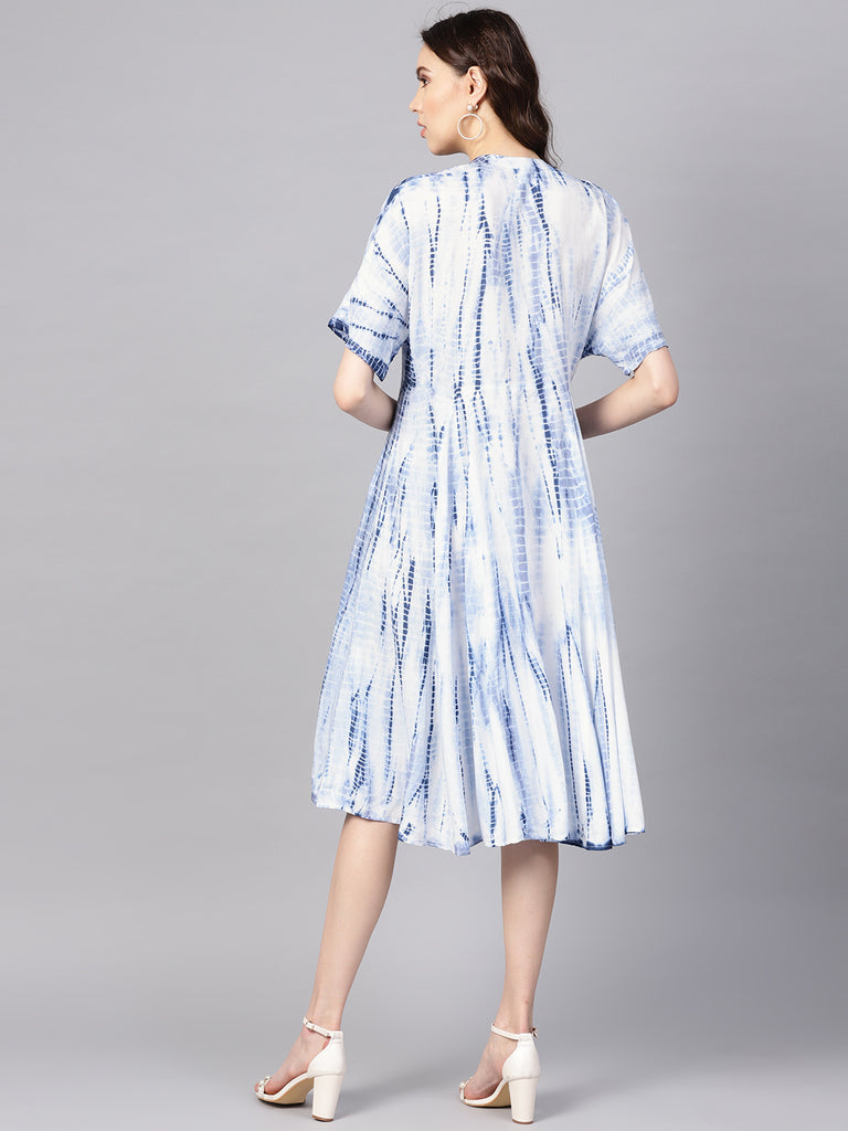 Blue Tie-Dyed Button Down Midi Dress