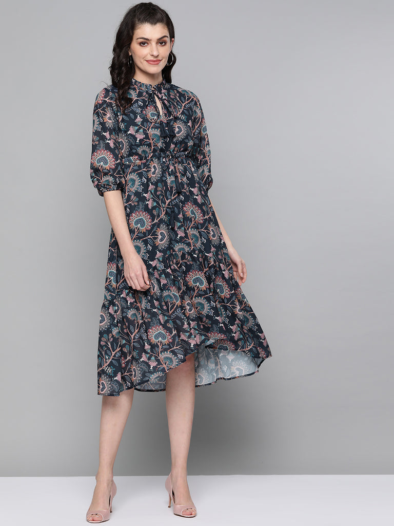 Navy Indie Floral Tiered Midi Dress